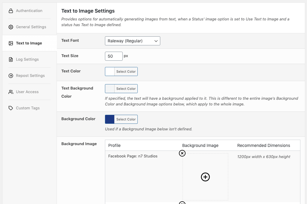 WordPress to Hootsuite Pro: Text to Image Settings