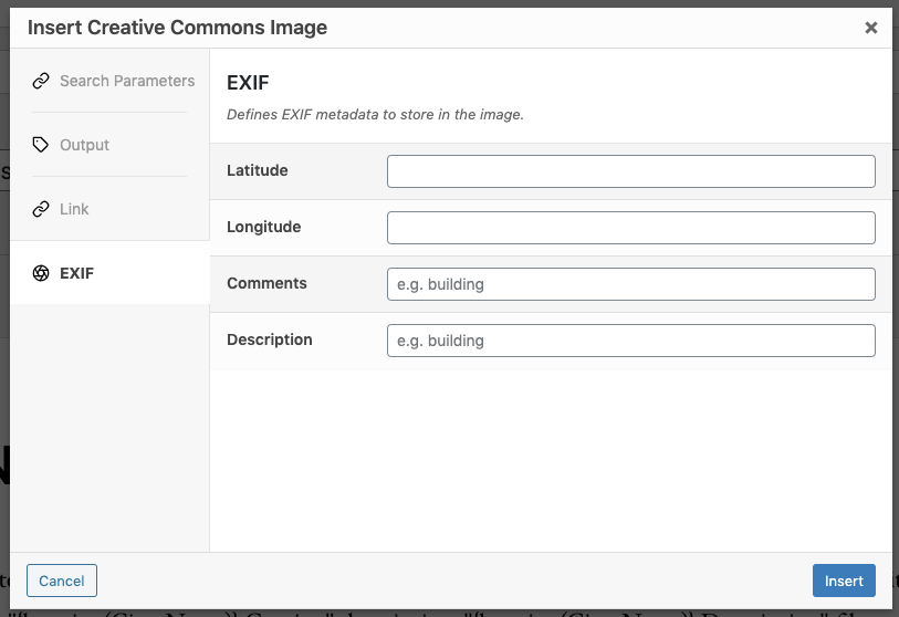 Page Generator Pro: Dynamic Elements: Creative Commons: Classic Editor: EXIF Settings