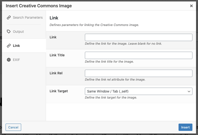Page Generator Pro: Dynamic Elements: Creative Commons: Classic Editor: Link Settings