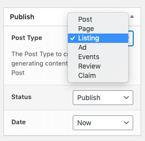 Page Generator Pro: Generate: ListingPro Integration: Post Type Selection in the Classic Editor