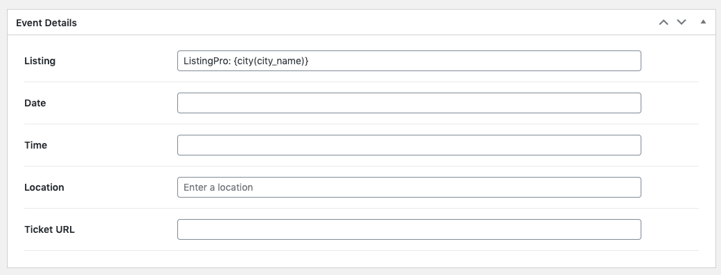 Page Generator Pro: Generate: ListingPro Integration: Settings: Events