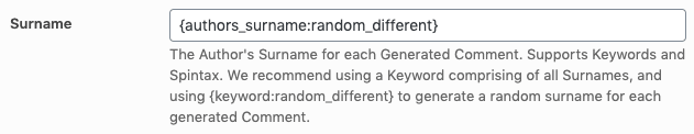 Page Generator Pro: Tutorial: Generate Comments: Surname