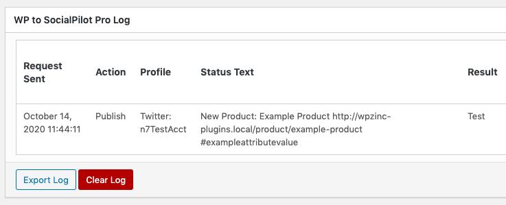 WordPress to SocialPilot Pro: WooCommerce: Attributes: Log Result