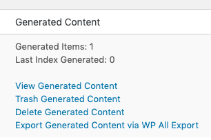 Page Generator Pro: Export Generated Content: WP All Export: Link