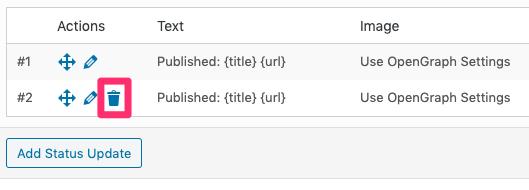 WordPress to Hootsuite Pro: Delete Status