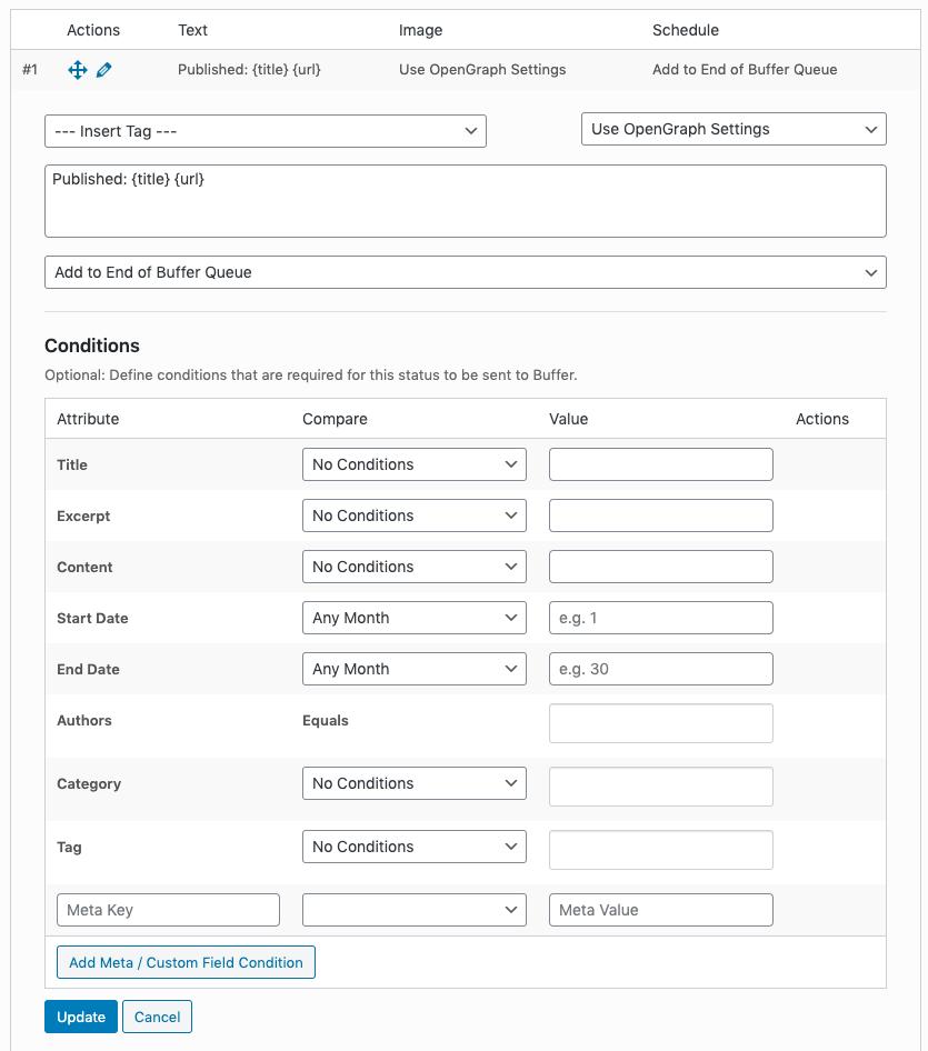WordPress to Buffer Pro: Edit Status Form