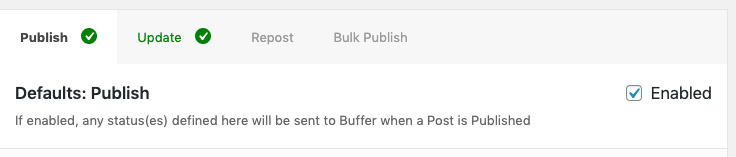 WordPress to Buffer Pro: Status: Enabled