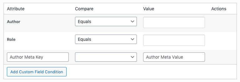 WordPress to Buffer Pro: Status Settings: Author Conditions