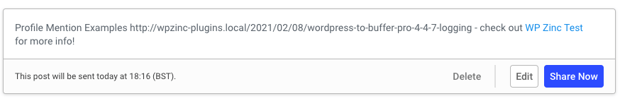 WordPress to Buffer Pro: Status Text: Facebook Profile Mention: Buffer Result
