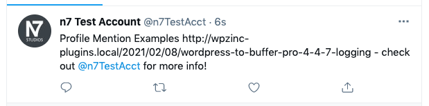 WordPress to Buffer Pro: Status Text: Twitter Profile Mention: Twitter Result