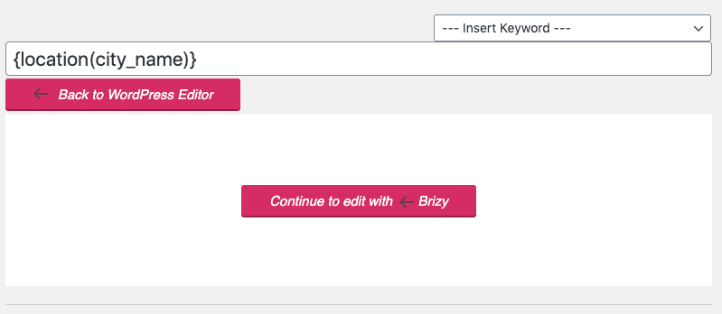 Page Generator Pro: Page Builders: Brizy: Edit Button