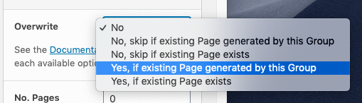 Page Generator Pro: Tutorial: Introduction: Content Group: Overwrite