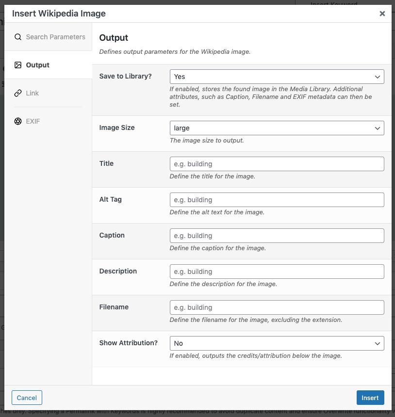 Page Generator Pro: Dynamic Elements: Wikipedia Image: TinyMCE: Output