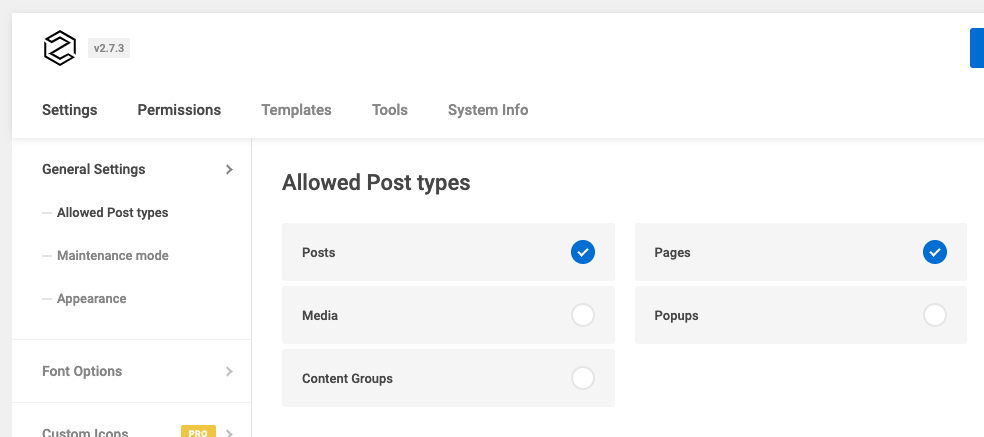 Page Generator Pro: Generate: Page Builders: Zion Builder: Settings